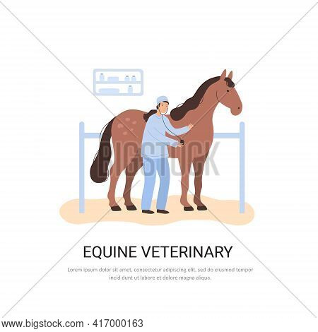 Vector Equine Veterinary Concept, Doctor And Horse