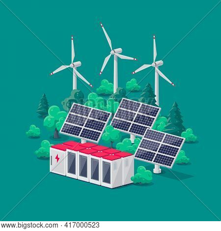 Renewable Energy Smart Grid Power Station With Solar Wind And Battery Storage