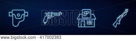 Set Line Hunting Shop Weapon, Gun Holster, Revolver Gun And . Glowing Neon Icon On Brick Wall. Vecto