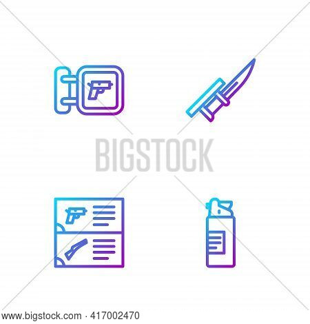 Set Line Weapons Oil Bottle, Catalog, Hunting Shop Weapon And Bayonet Rifle. Gradient Color Icons. V