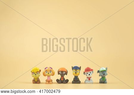 Bangkok, Thailand - April 15, 2021 : Toy Of Paw Patrol Team Standing In A Row. Heroes Of The Animate