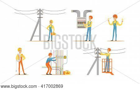 Electricians At Work Set, Professional Engineers In Uniform And Hardhat Installing And Repairing Ele