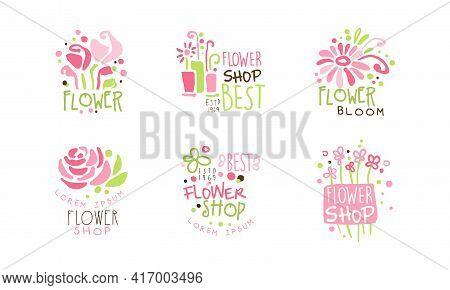 Best Flower Shop Logo Templates Set, Florist Boutique Pink Hand Drawn Badges Vector Illustration