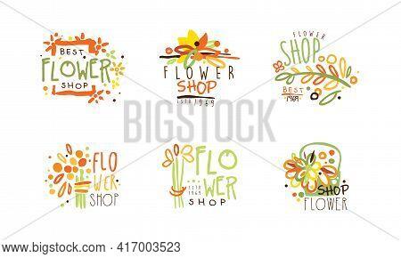 Best Flower Shop Logo Templates Set, Florist Boutique Hand Drawn Retro Badges Vector Illustration