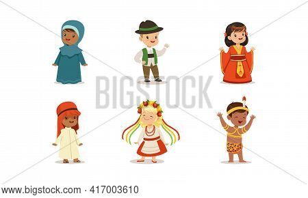 Cute Kids In National Costumes Of Different Countries Set, Boys And Girls Wearing Clothes Of Germany