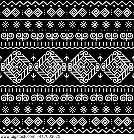 Slovak Folk Art Vector Seamless Pattern With Ethnic, Tribal Geometric Shapes - Inspired By Tradition