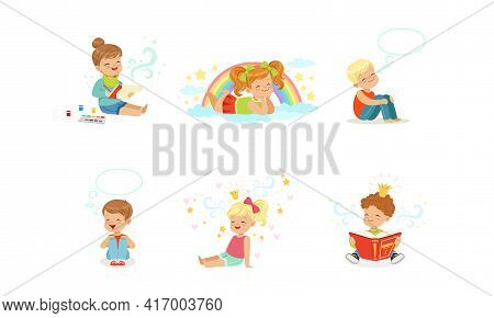 Kids Imagination And Fantasy Concept, Adorable Little Boys And Girls Dreaming About Something With S