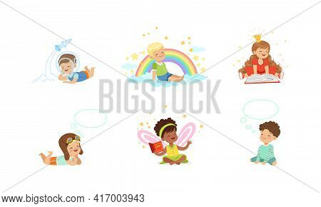 Kids Imagination And Fantasy Concept, Adorable Little Boys And Girls Dreaming About Future Professio