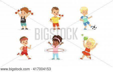 Cute Little Kids Doing Sports Set, Little Boys And Girls Exercising With Dumbbells, Playing Ball, Sp