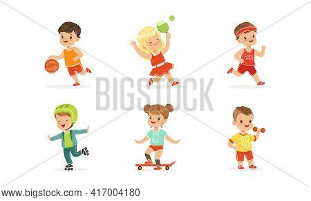 Cute Little Kids Doing Sports Set, Little Boys And Girls Exercising With Dumbbells, Playing Ball, Te