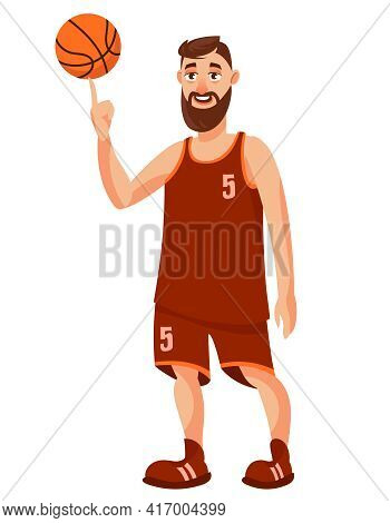 Basketball Player Spinning Ball On His Finger. Sportsman In Cartoon Style.