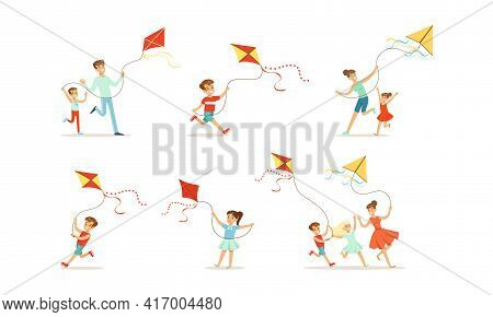 Children Having Fun With Kites Outdoors Set, Parents And Kids Playing Kite In Park Cartoon Vector Il