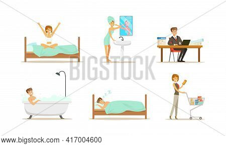 People Daily Routine Set, Man And Woman In Everyday Life, People Sleeping, Bathing, Working Cartoon