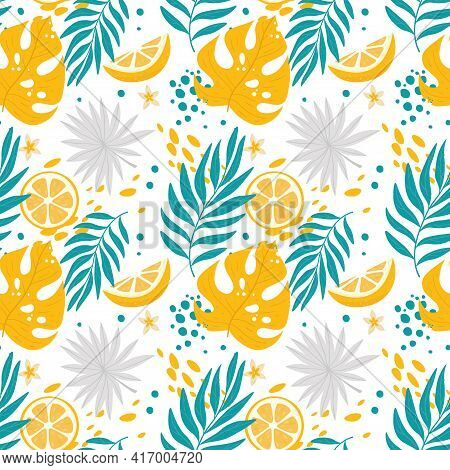Tropical Leaves Seamless Pattern. Vector Bright Color Illustration.
