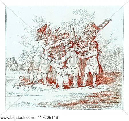 Alliance Committee, vintage engraved illustration