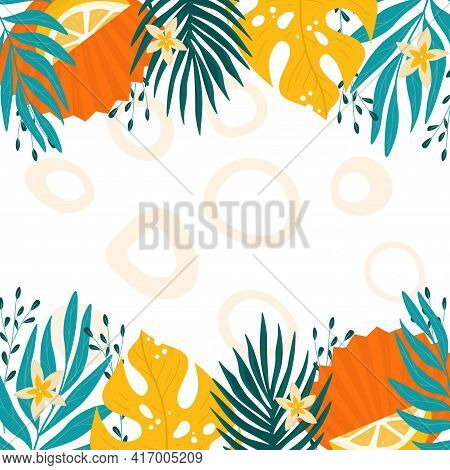 Frame Of Tropical Leaves. Orange And Turquoise Vector Illustration.