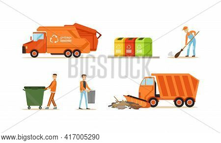 Garbage Collection Set, Orange Garbage Trucks And Scavengers Workers Cleaning Trash Cartoon Vector I