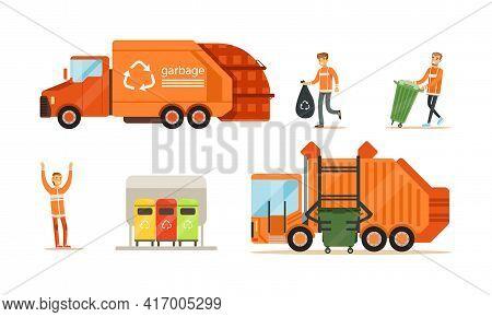 Garbage Collection Set, Orange Garbage Trucks And Garbage Collectors Removing Garbage Cartoon Vector