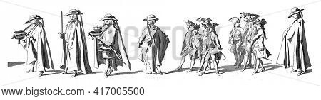 Bearers with stadholder's insignia followed by a group of pages. In the margin the caption in Dutch, French and English, vintage engraving.