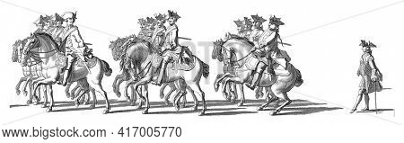 Three groups of whisks on horseback. In the margin the caption in Dutch, French and English, vintage engraving.