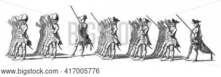 The Swiss Guard. In the margin the caption in Dutch, French and English, vintage engraving.