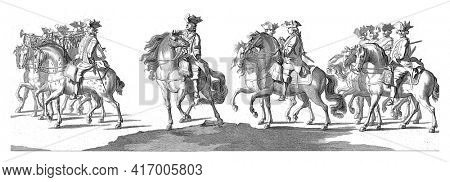 Gardes on horseback, preceded by trumpeters. In the margin the caption in Dutch, French and English, vintage engraving.