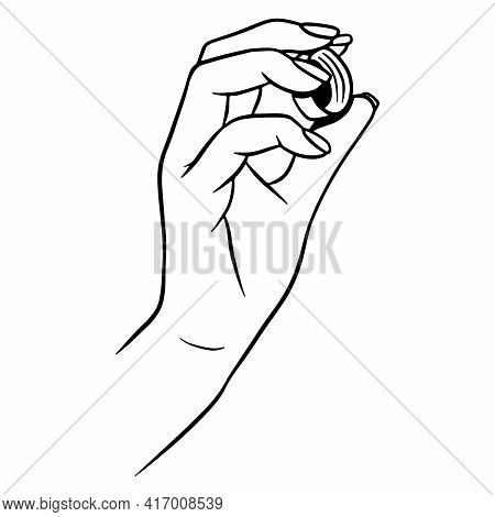 Bottle Cork In Hand. Cork From A Plastic Bottle. Cartoon Style. Vector Illustration. For Design And