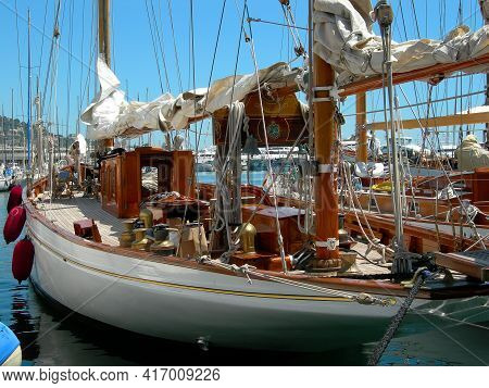 Nice,  France - May 19, 2005 : Close Up Of A Beautiful Sail Boat In Nice France