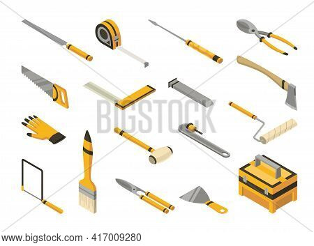 Set Of Isometric Hand Tools. Detailed Icons Of Tools For Handyman Repair. Vector Equipment Kit Of Bu