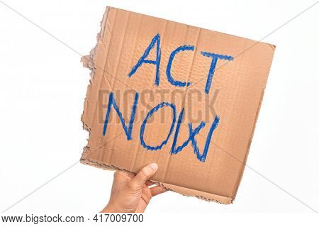 Cardboard banner ACT NOW text, take action now message over isolated white background