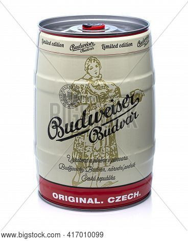 Swindon, Uk - April 15, 2021: Budweiser Budvar Keg Of Llimited Edition  Lager On A White Background