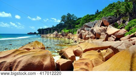 Anse Fourmis beach in La Digue Island, Indian Ocean, Seychelles. Exotic travel destination.