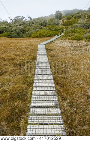 Scenery With Walkway Around The Key Summit Track At The South Island Of New Zealand