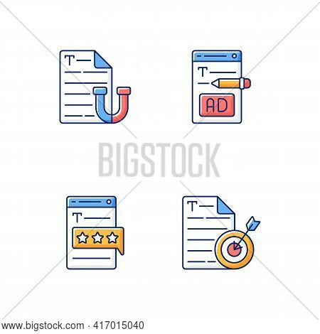 Engaging Online Content Rgb Color Icons Set. Appealing Text. Writing Ads For Online Marketing. Recog