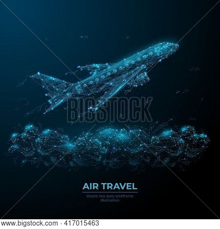 3d Airplane Flying Over Clouds. Digital Vector Airliner In The Sky. Air Travel, Airline Transportati