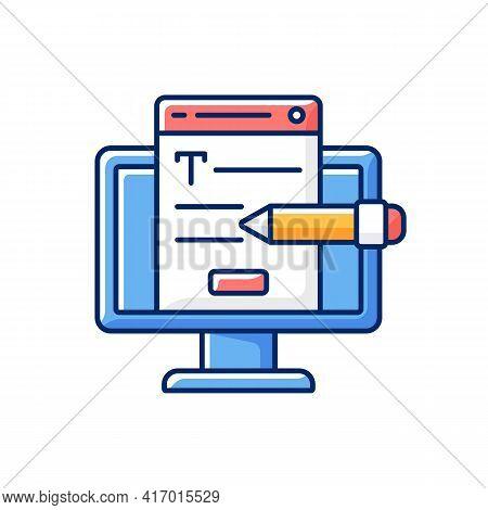 Website Content Rgb Color Icon. Online Platform. Copywriting Services. Search Optimization. Freelanc