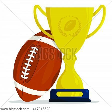 Prize Sports Cup With Ball For Participation In American Football Competitions. Award Trophy To Winn
