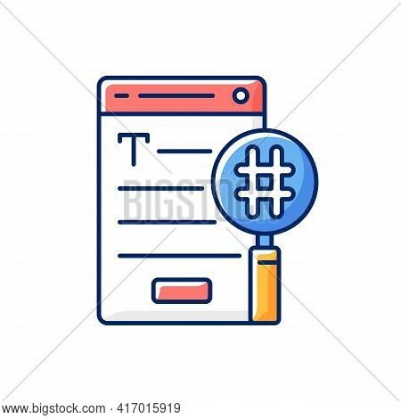 Seo Copywriting Rgb Color Icon. Search Engine Optimization Service. Commercial Text With Hashtags, K