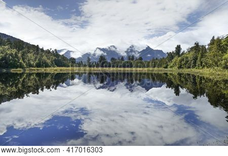 Scenery Around Lake Matheson At The South Island In New Zealand