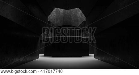 Dark Basement Vault Cathedral Concrete Stone Vault Building Interior 3d Render Illustration Shining