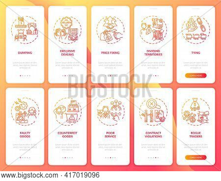 Entrepreneurial Activities Onboarding Mobile App Page Screen With Concepts Set. Customer Protect Wal