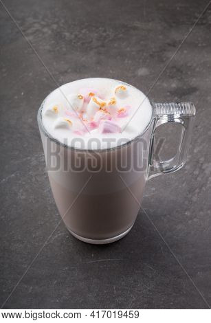 Glass Cup Of Babyccino Drink With Marshmallows And Milk Foam