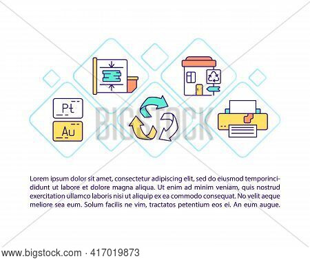 E-waste Disposal Concept Line Icons With Text. Ppt Page Vector Template With Copy Space. Brochure, M