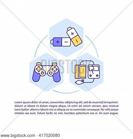Electronic Products Concept Line Icons With Text. Ppt Page Vector Template With Copy Space. Brochure