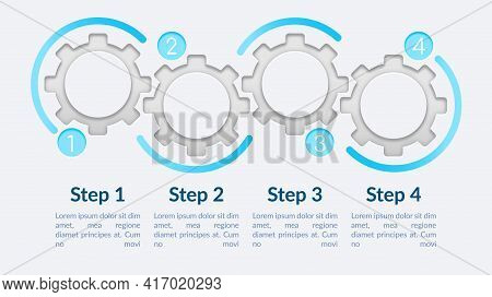 Empty Circle Gears Vector Infographic Template. One Colored Presentation Design Elements With Text S
