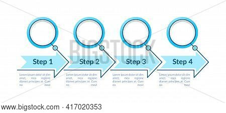 One Colored Circles Steps Vector Infographic Template. Fancy Presentation Design Elements With Text