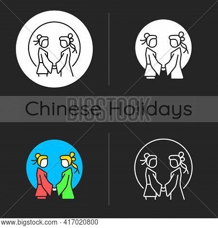 Double Seventh Festival Dark Theme Icon. Chinese Valentine Day. Romantic Legend. Annual Cowherd And