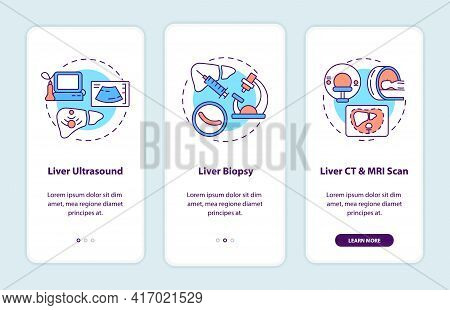 Liver Diagnostics Onboarding Mobile App Page Screen With Concepts. Ultrasound, Biopsy Walkthrough 3