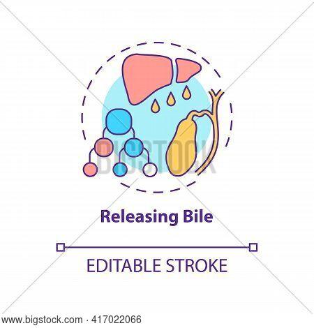 Releasing Bile Concept Icon. Liver Function Idea Thin Line Illustration. Digestive Fluid. Hepatic Me