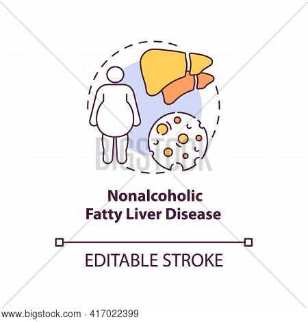Nonalcoholic Fatty Liver Disease Concept Icon. Liver Disease Type Idea Thin Line Illustration. Fat B